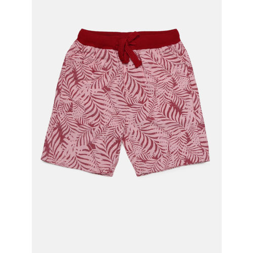Juniors by Lifestyle Boys Red & Pink Printed Regular Fit Regular Shorts