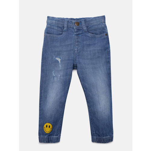 Juniors by Lifestyle Boys Blue Jogger Mid-Rise Low Distress Jeans