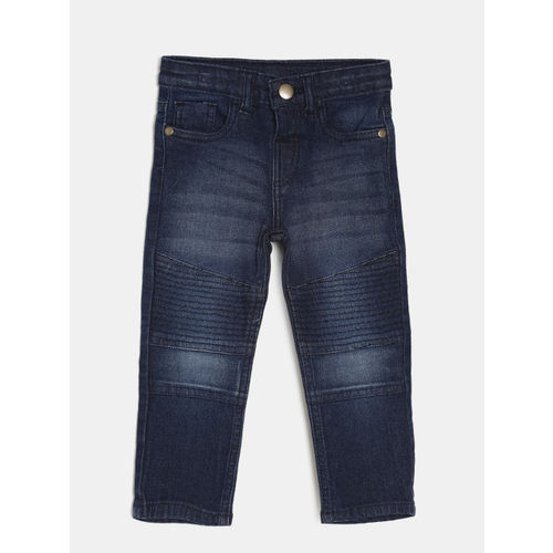 Juniors by Lifestyle Boys Navy Blue Regular Fit Mid-Rise Clean Look Stretchable Jeans