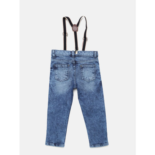 Juniors by Lifestyle Boys Blue Mildly Distressed Jeans with Suspenders
