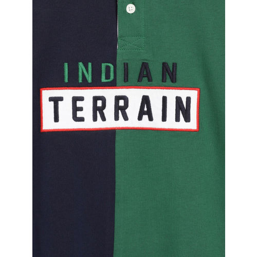 Indian Terrain Boys Green & Navy Blue Colourblocked Polo Collar T-shirt