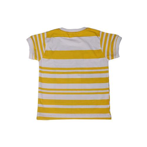 Noddy Boys Yellow & White Printed Round Neck T-shirt