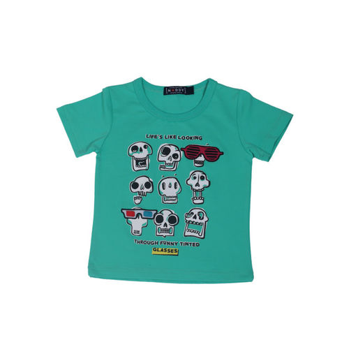 Noddy Boys Green and White Printed Round Neck T-shirt