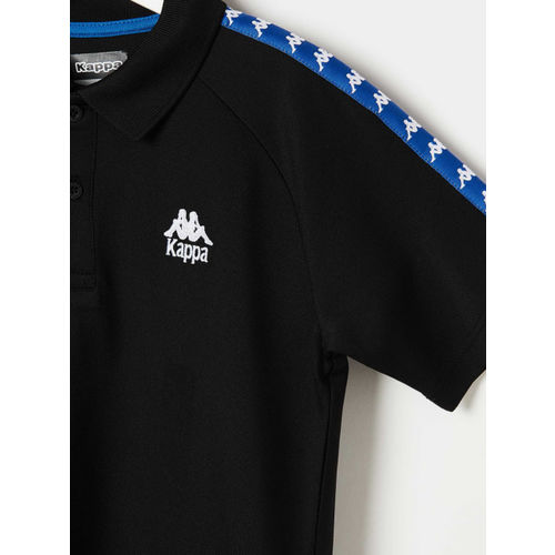 Kappa Boys Black Printed Polo Collar T-shirt