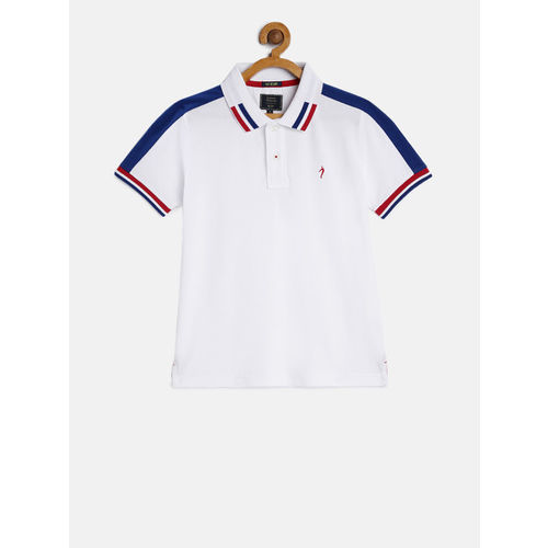 Indian Terrain Boys White Solid Polo Collar T-shirt