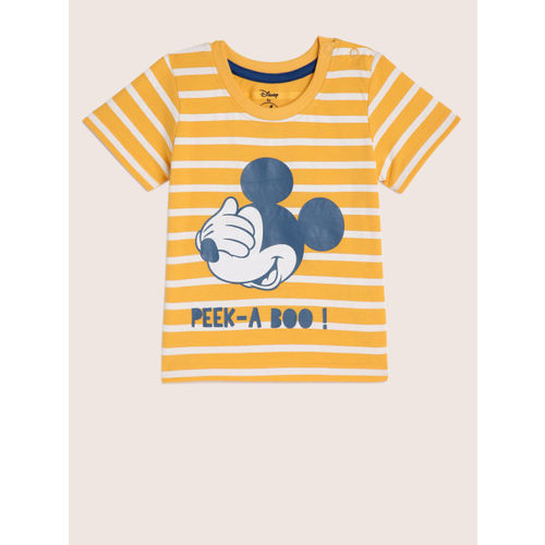 YK Disney Boys Pac Yellow Printed Round Neck T-shirt