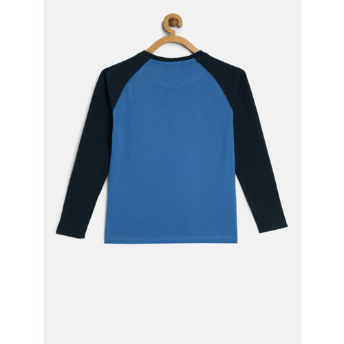 Indian Terrain Boys Blue Printed Round Neck T-shirt