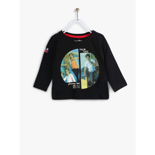 Palm Tree Boys Black Printed Round Neck T-shirt