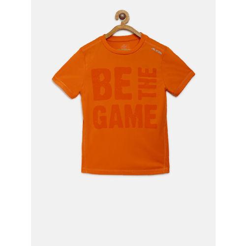 Alcis Boys Orange Printed Round Neck T-shirt