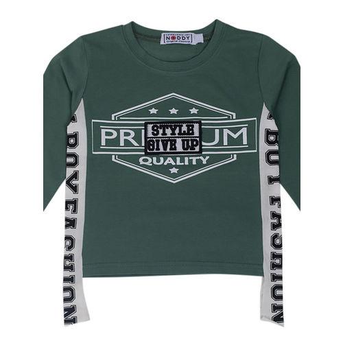 Noddy Boys Green Printed Round Neck T-shirt