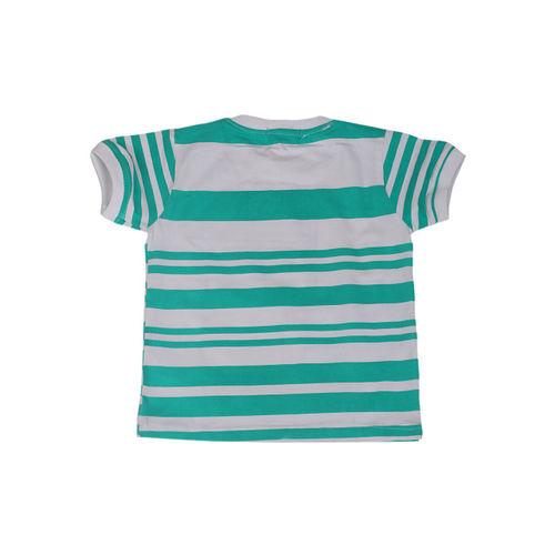 Noddy Boys Green & White Printed Round Neck T-shirt