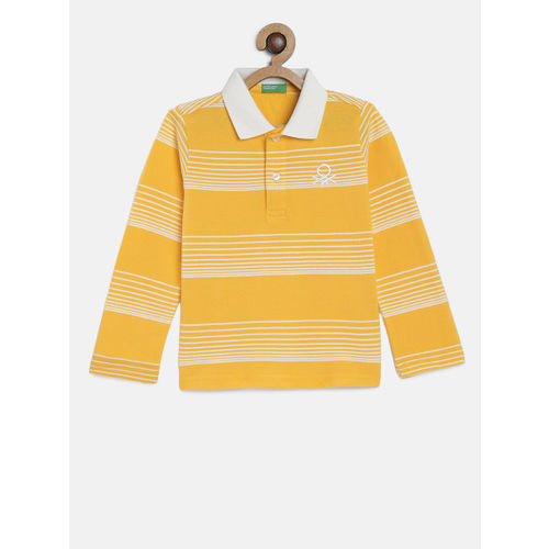United Colors of Benetton Boys Mustard Yellow & White Striped Polo Collar T-shirt
