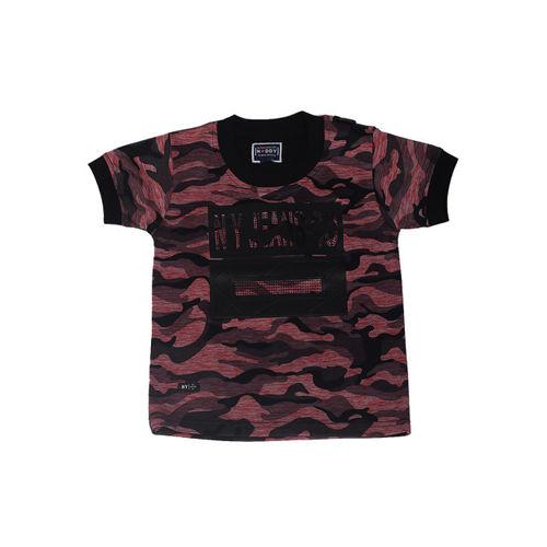 Noddy Boys Red Camouflage Printed Round Neck T-shirt