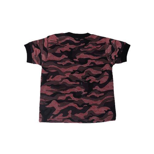 Noddy Boys Red & Black Camouflage Printed Round Neck T-shirt