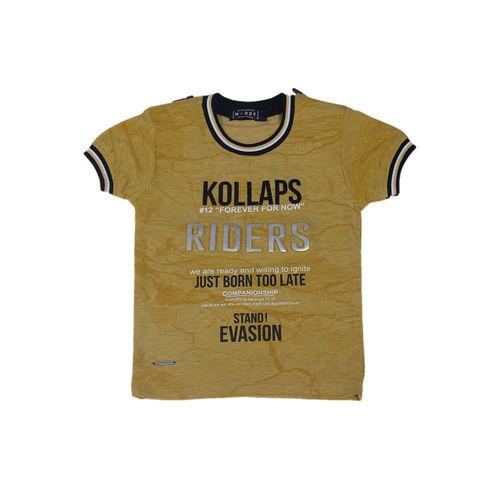 Noddy Boys Khaki Printed Round Neck T-shirt