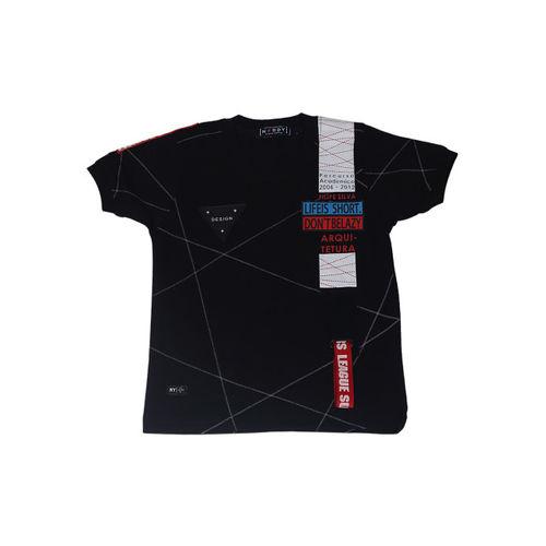 Noddy Boys Black and Grey Printed Round Neck T-shirt