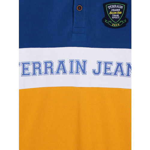 Indian Terrain Boys Yellow Printed Polo Collar T-shirt