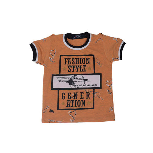 Noddy Boys Orange and Black Printed Round Neck T-shirt