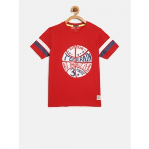 Indian Terrain Boys Red Printed Round Neck T-shirt