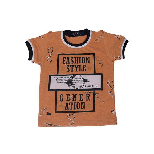 Noddy Boys Orange Printed Round Neck T-shirt