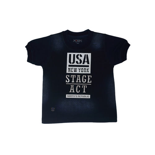 Noddy Boys Navy Blue Printed Round Neck T-shirt