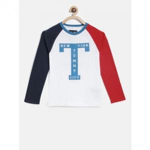 Tommy Hilfiger Boys White Printed Round Neck T-shirt