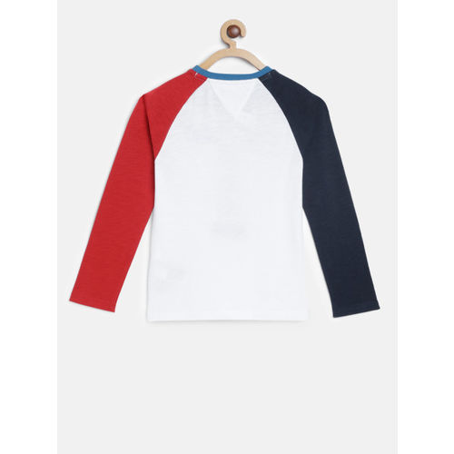 Tommy Hilfiger Boys White Printed Round Neck T-shirt