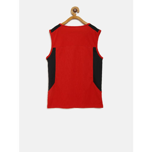 Alcis Boys Red & Black Colourblocked Round Neck T-shirt