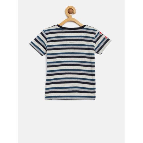 Palm Tree Boys Navy Blue & Off White Striped Round Neck T-shirt