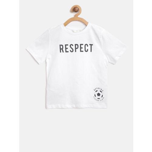 Mango Kids Boys White & Black Printed Round Neck T-shirt