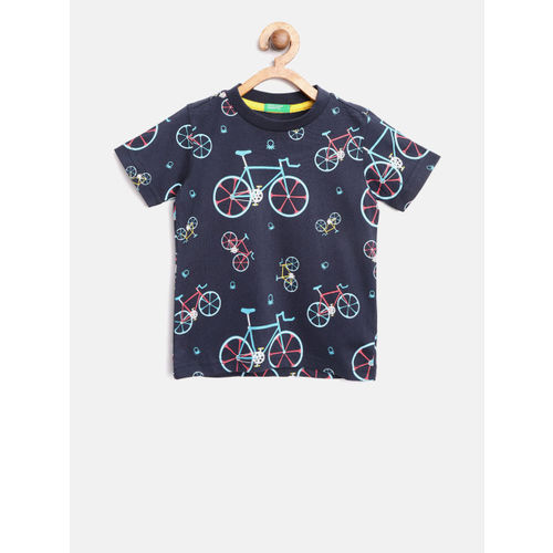 United Colors of Benetton Boys Navy Blue Printed Round Neck T-shirt