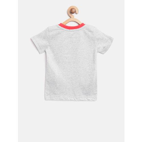United Colors of Benetton Boys Grey Melange Printed Round Neck T-shirt