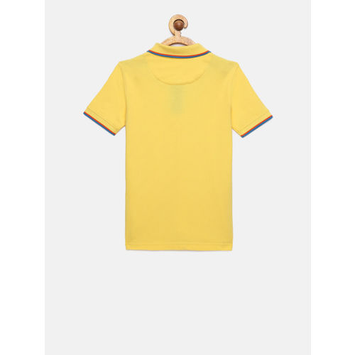 Indian Terrain Boys Yellow Solid Polo Collar T-shirt