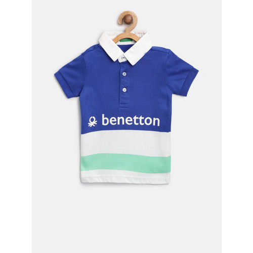 United Colors of Benetton Boys Navy Blue & White Colourblocked Polo Collar T-shirt