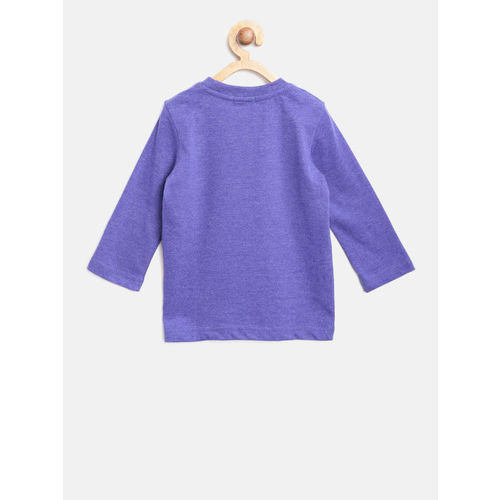 United Colors of Benetton Boys Purple Printed Round Neck T-shirt