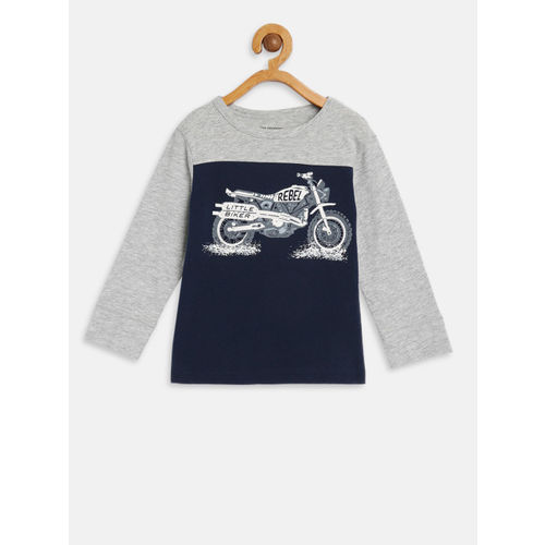 The Childrens Place Boys Blue & Grey Printed Round Neck T-shirt