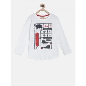 Gini and Jony Boys White Printed Round Neck T-shirt
