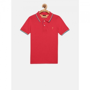 Indian Terrain Boys Coral Solid Polo Collar T-shirt