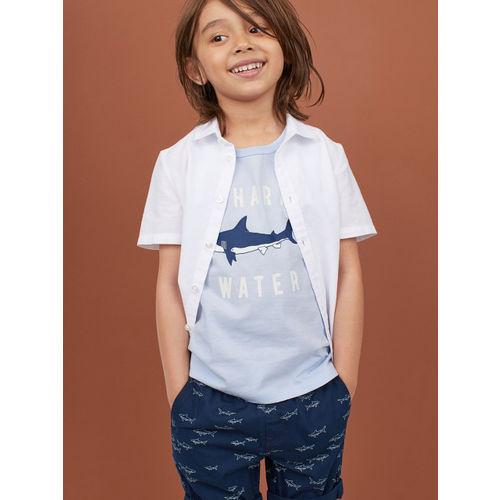 H&M Boys Blue Printed Printed Vest T-shirt