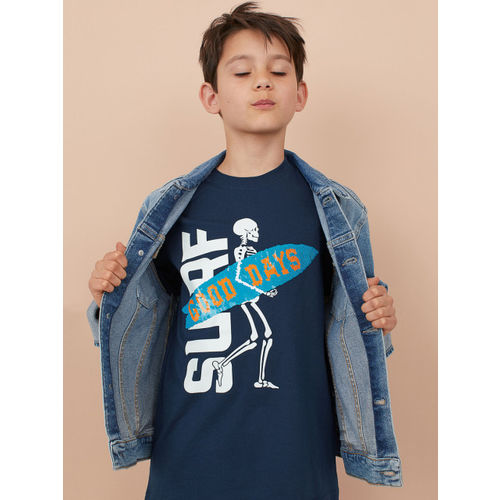 H&M Boys Blue Printed T-shirt with a motif