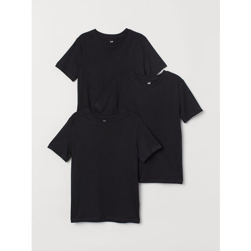 H&M Boys Black Solid 3-pack T-shirts