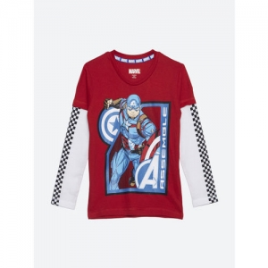 CAPTAIN AMERICA Boys Red Printed Round Neck T-shirt
