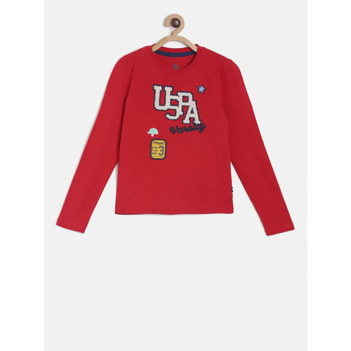 U.S. Polo Assn. Kids Boys Red Printed Round Neck T-shirt
