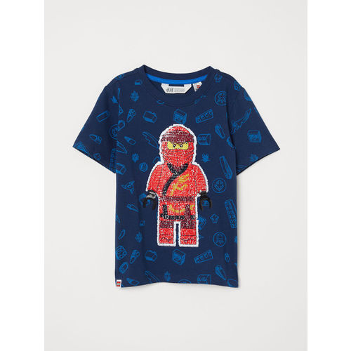 H&M Boys Blue Printed Reversible Sequin T-shirt