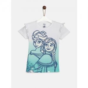 YK Boys White Printed Round Neck T-shirt