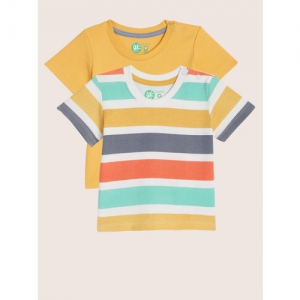 YK Boys Set of 2 Multicoloured Striped Round Neck T-shirt