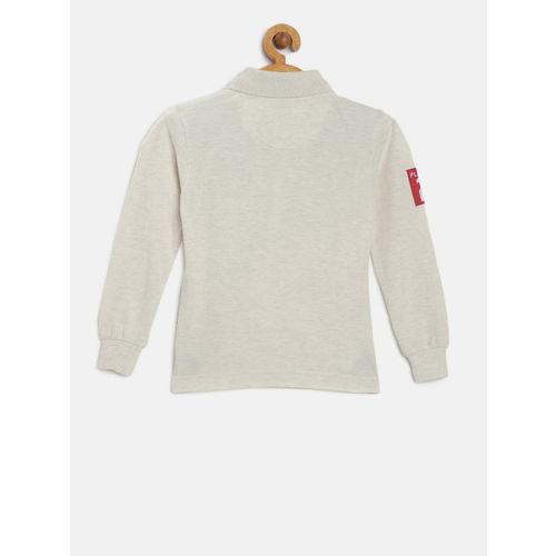 U.S. Polo Assn. Kids Boys Off-White Printed Polo Collar T-shirt