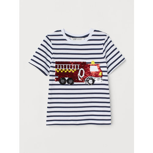 H&M Girls White & Blue Striped Reversible Sequin T-shirt