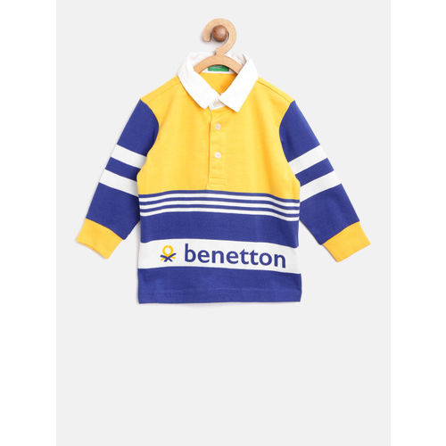 United Colors of Benetton Boys Yellow & Blue Striped Polo Collar T-shirt