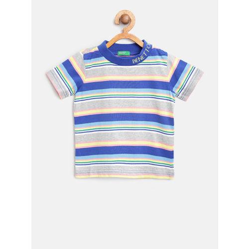 United Colors of Benetton Boys Blue & Grey Melange Striped Round Neck T-shirt